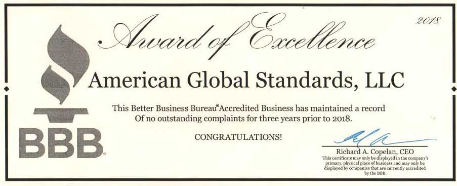 BBB award of excellence